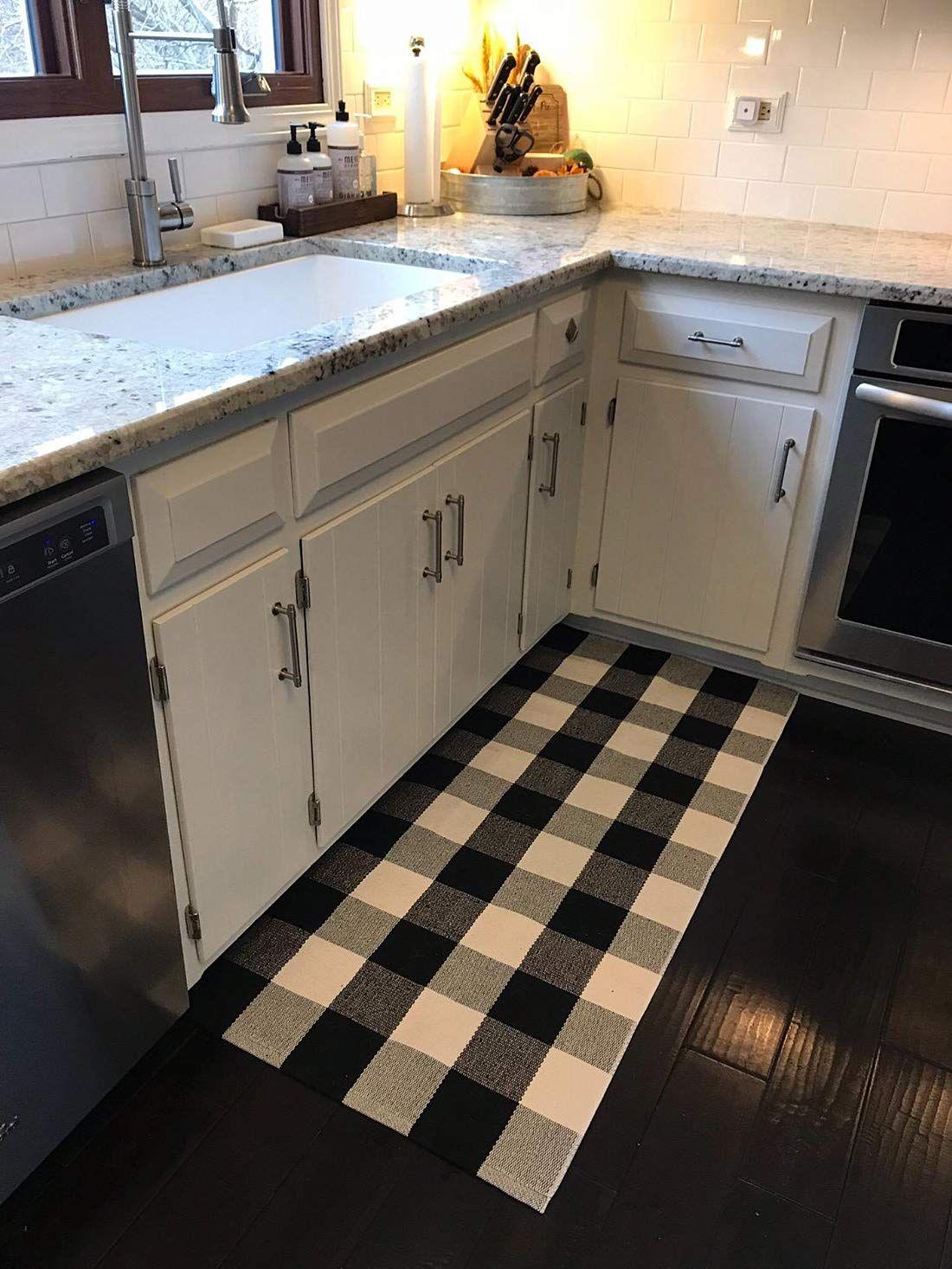 Amazon Com Ukeler Buffalo Check Rug Black And White Plaid Rugs Cotton Hand Woven Checkered Car Checkered Kitchen Decor Buffalo Plaid Decor Home Decor Kitchen
