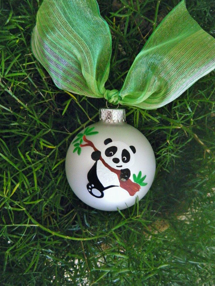 Handpainted Panda Ornament - Personalized Christmas Ornament ...