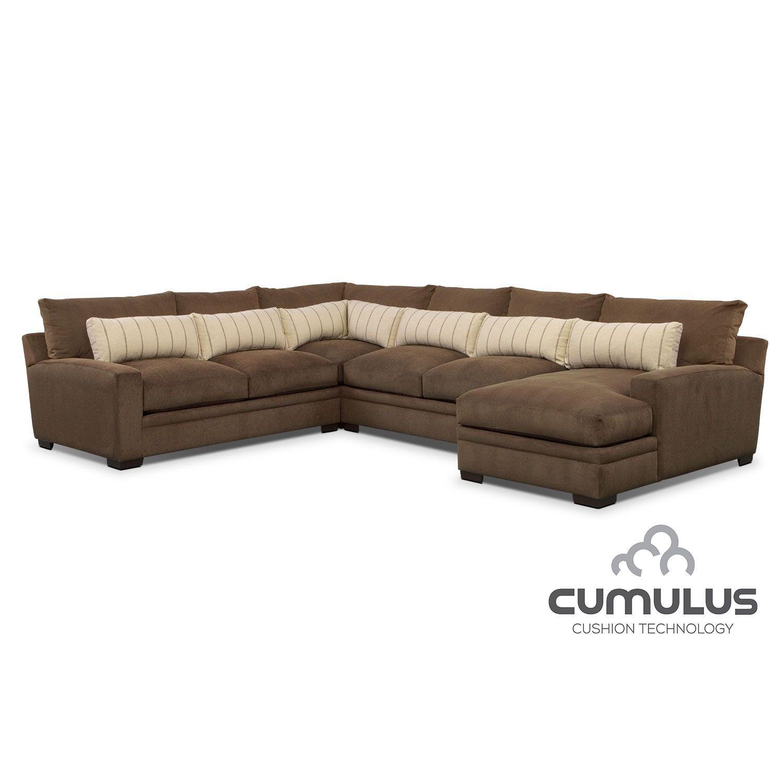 Ventura Teak 4 Pc. Sectional | Value City Furniture | Family room ...