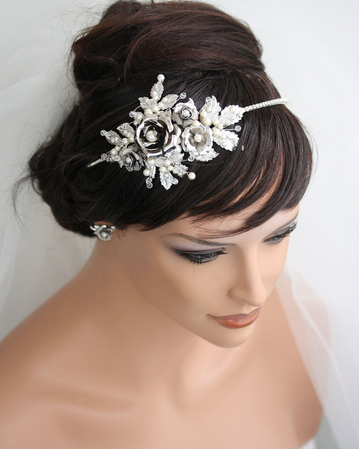 bridal headband wedding hair accessories vintage side tiara