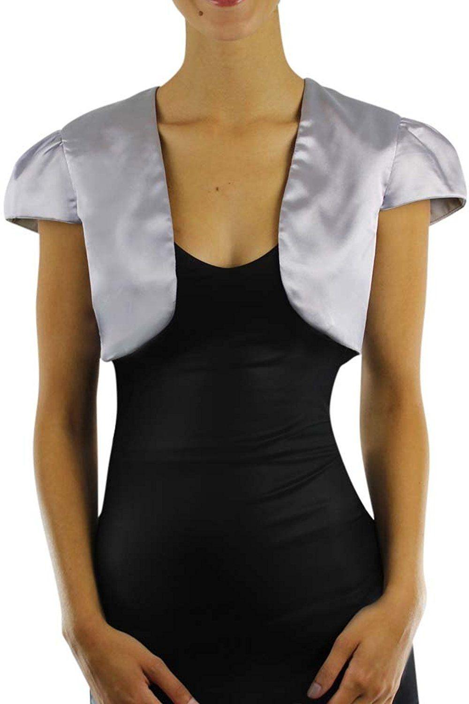 Luxury Divas Short Sleeve Dressy Satin Bolero Shrug Jacket -- This
