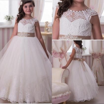 White Ivory Long Flower Girls Dresses For Weddings Ball Gown Vintage Lace Top Pageant Pincess Girl First Communion Dress Size