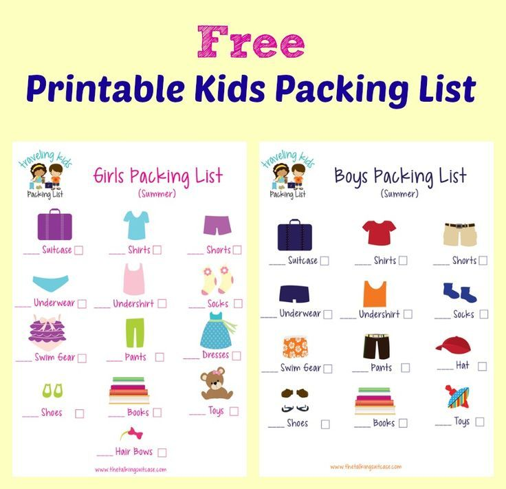 Kids Packing List {Free Printable} Road trip adventure, Summer - Vacation Packing List Printable