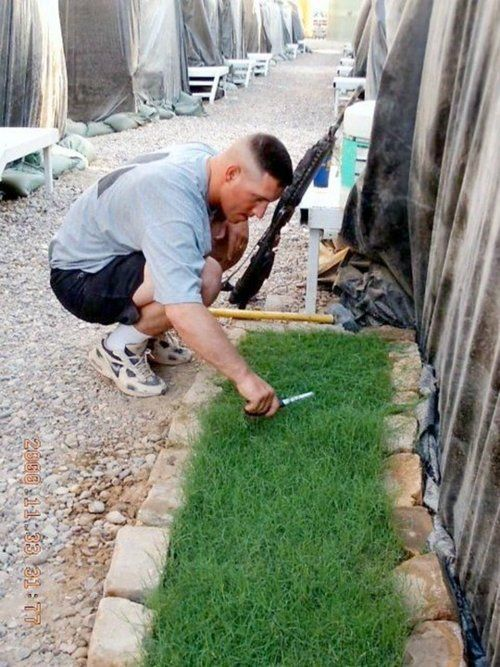 Here is a soldier in Iraq , stationed in a big sand box.   He asked his wife to send him dirt ( U.S. soil), fertilizer, and some grass seed so that he can have the sweet aroma, and feel the grass grow beneath his feet. When the men of the squadron have a mission that they are going on, they take turns walking through the grass and the American soil — to bring them good luck. Of all the things he could have asked his wife to send to him from home, he asked for American soil