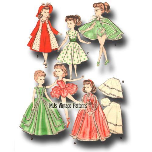"Sweet Sue Vtg 1950s 18/"" for Miss Revlon Cissy Toni Doll Clothes Dress Pattern"