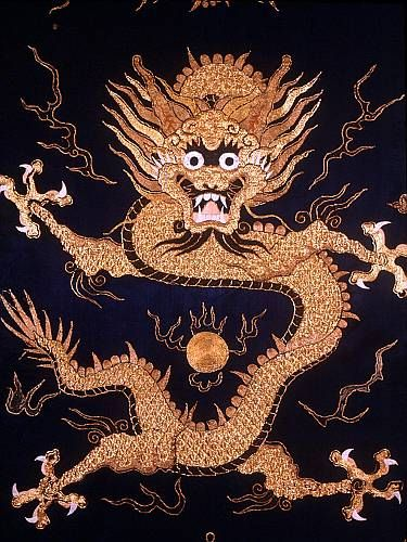 Chinese Imperial dragon on embroidered ceremonial robe ...