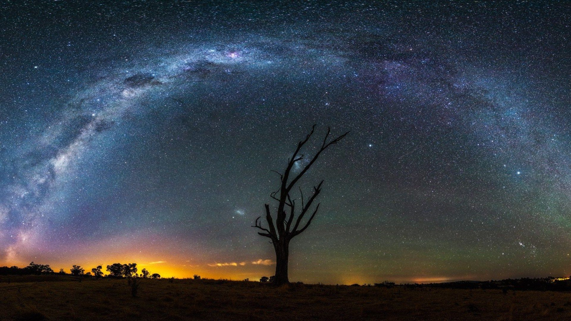 milky way nocturnal starry night blue landscapes 1920x1080