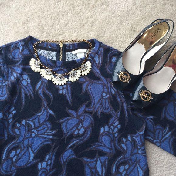 NWOT H&M shades of blue floral print top. Sz S. NWOT H&M floral in shades of cobalt, navy, and powder blue. Sz S. Gorgeous. H&M Tops Sweatshirts & Hoodies