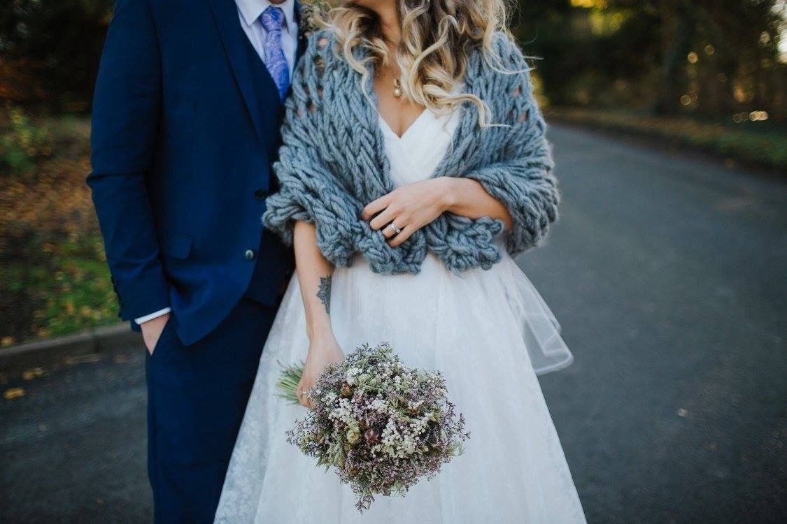 I absolutely loved my dried flowers and chunky knit shawl 💜 bride ...