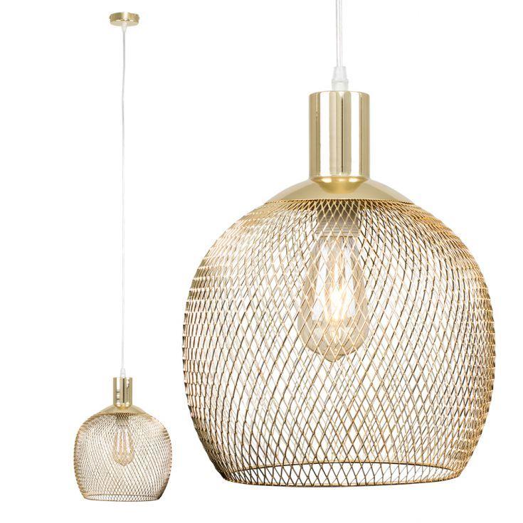 Regina Gold Mesh Pendant Ceiling Light, Gold Mesh Lamp Shade