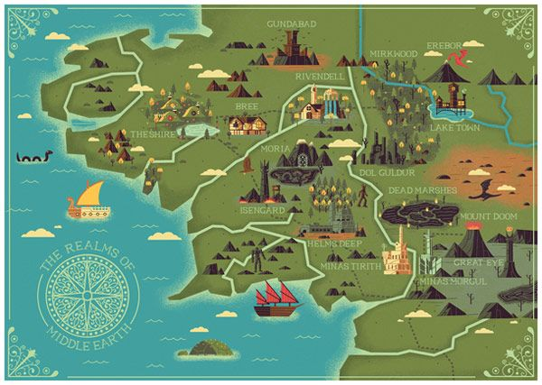 map of the realms of middle earth illustrated by studio muti