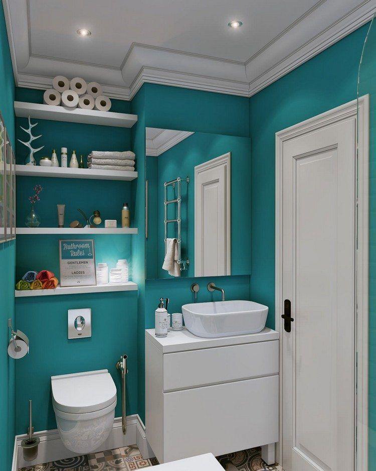 Mobilier Salle Bain Design En Blanc Laqué, Plafond Avec Spots LED Intégrés  Et Peinture Bleu