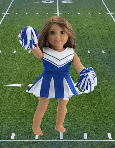 Cheerleader-Blue & White Dress with Panties & Pom Poms