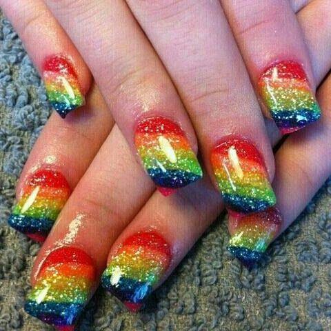 17 Rainbow Nail Designs You Won T Miss Pretty Designs Rainbow Nails Rainbow Nails Design Rainbow Nail Art