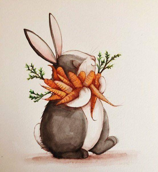 Юбилеем, нарисовать смешного кролика