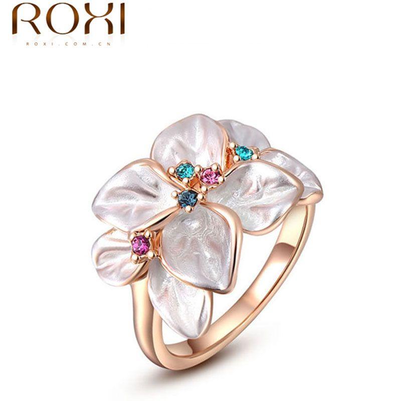 ROXI Squisito rosa d'oro colorful flower anello placcato con AAA zircon dei monili di modo per le donne migliori regali Di Natale 2010228290