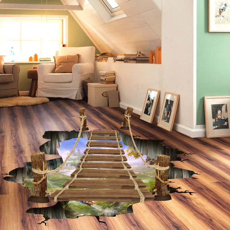 3D drawbridge artificial removal floor stickers forest
