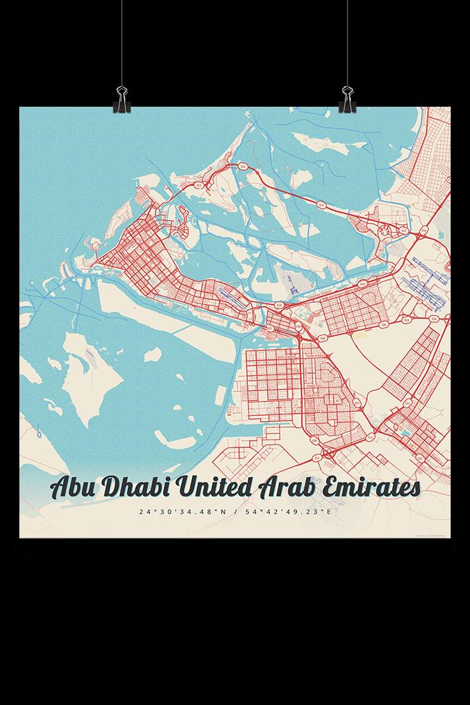 Premium Map Poster of Abu Dhabi United Arab Emirates - Lobster Retro ...