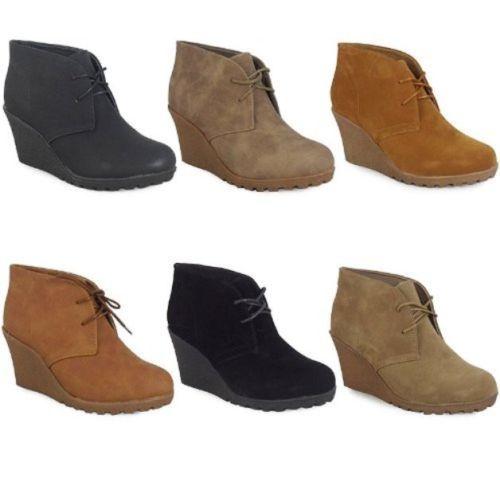 Womens Wedge Heel Chelsea Ankle Boots Sz 3-8