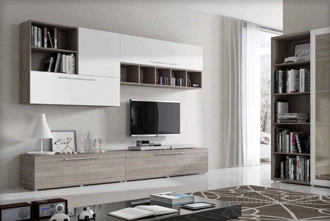 TWIST - Parete soggiorno moderna, in finitura larice grigio con ante ...