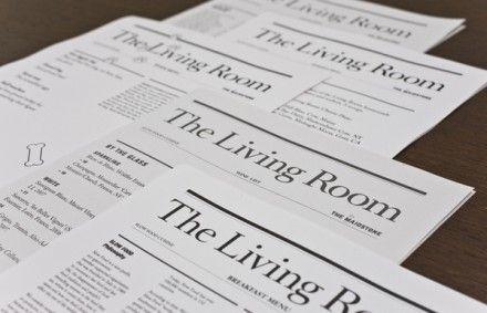 The Living Room Menu Restaurant Branding Branding Living Room