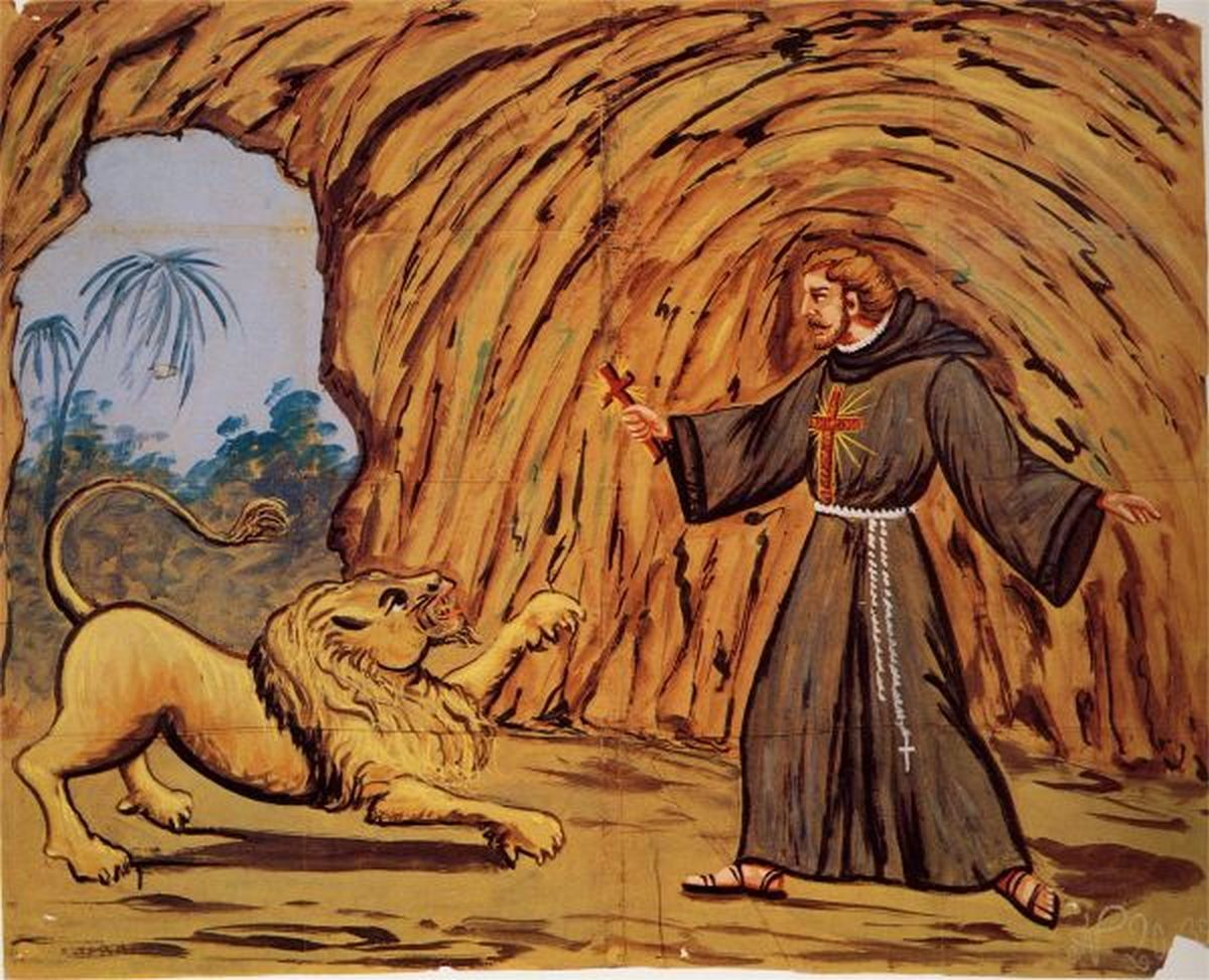 226 Guidone Santo con il crocifisso fa inginocchiare il feroce leone (Guido Santo)