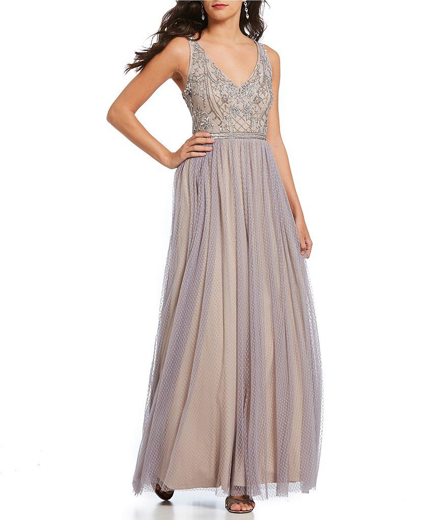 da908948cf0 Adrianna Papell Floral Beaded V-neck Bodice Textured Chiffon Skirt Gown