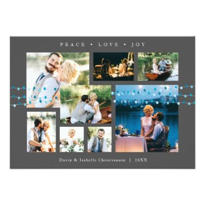Photo Collage Holiday Card - Gray - invitations custom unique diy personalize occasions