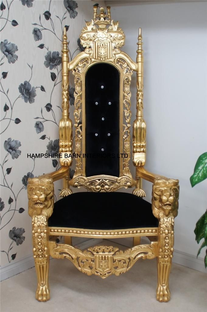 Lion Throne Chair in gold leaf BLACK velvet CRYSTAL buttons. - Lion Throne Chair In Gold Leaf BLACK Velvet CRYSTAL Buttons. Great