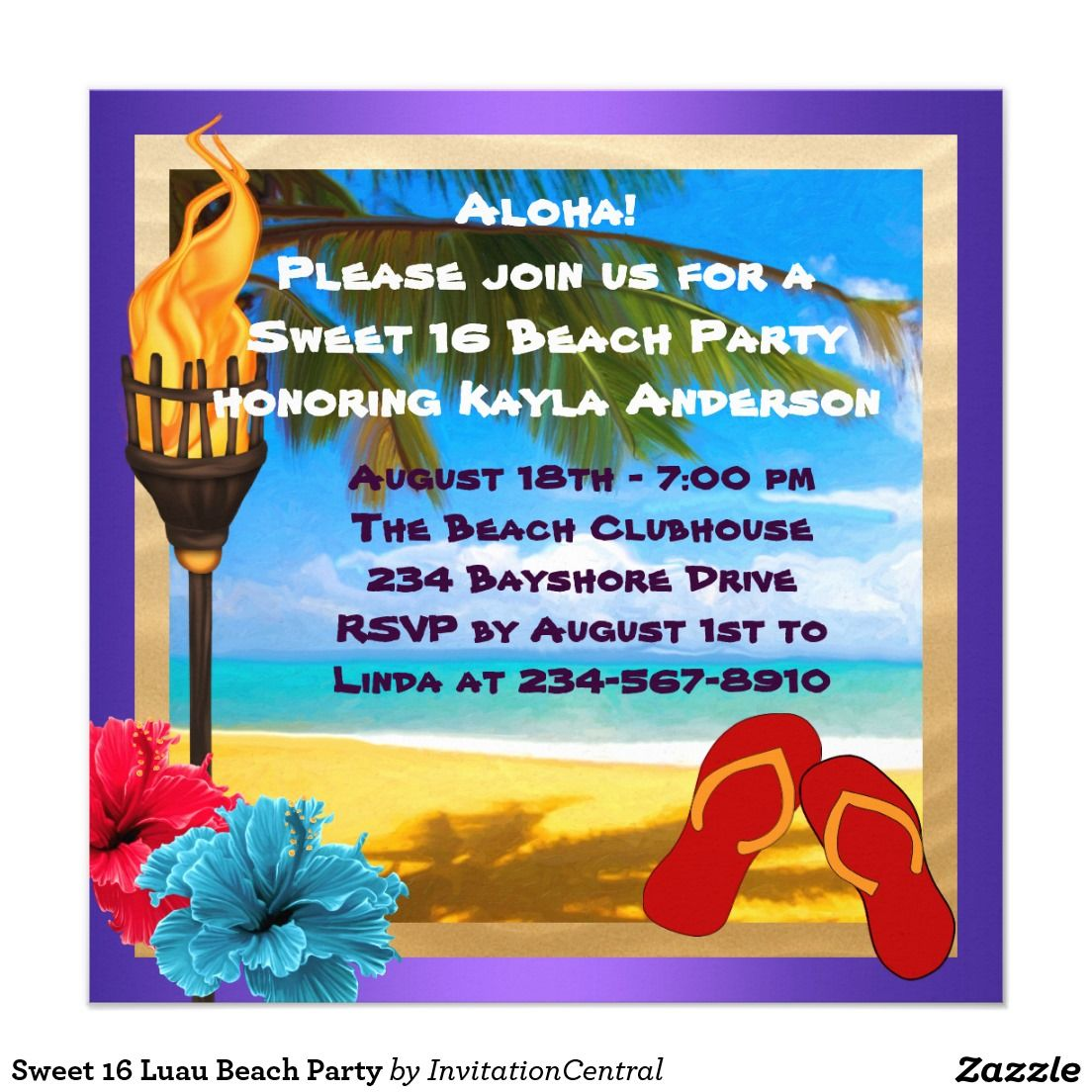 Sweet 16 Luau Beach Party Card | Luau, Sweet 16 and Caribbean party
