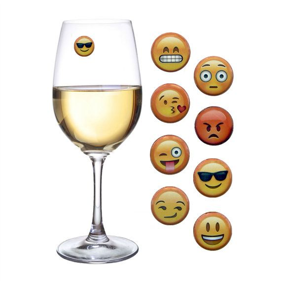 Emoji Wine Glass Charm Gift Great Magnetic Drink Markers Etsy Drink Marker Wine Glass Charms Glass Marker