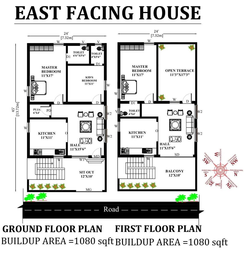 24 X45 Wonderful East Facing 3bhk House Plan As Per Vastu Shastra Download Autocad Dwg And Pdf File Cadbull House Plans How To Plan Little House Plans