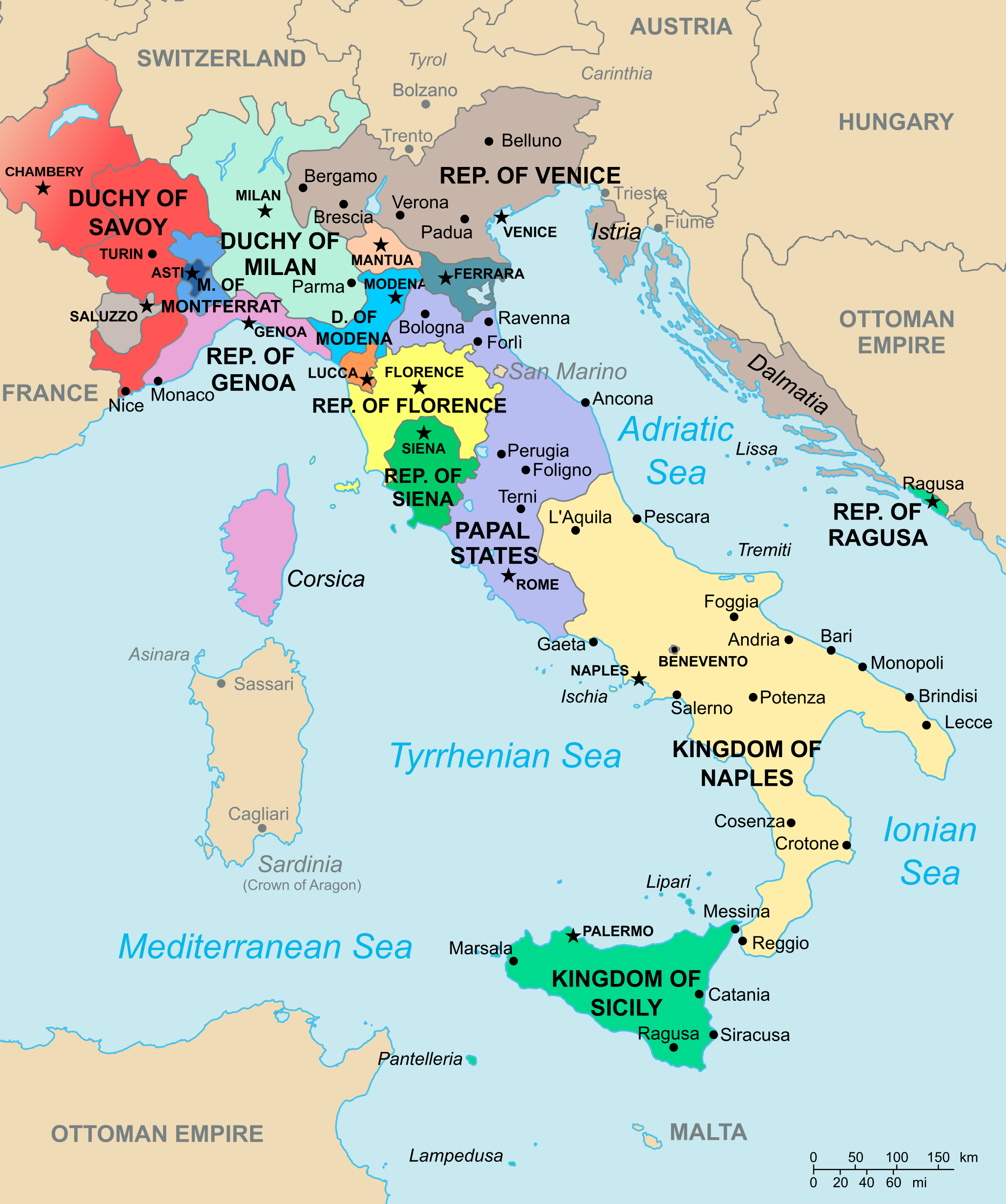 A map of Italy showing the different kingdoms (ca. 1494) | history