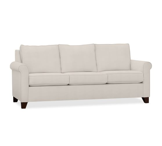 Cameron Roll Arm Upholstered Love Seat Polyester Wrapped Cushions Performance Everydayvelvet Tm Carbon At Pottery Barn Furniture Upholstered Sofa Sofa Sleeper Sofa