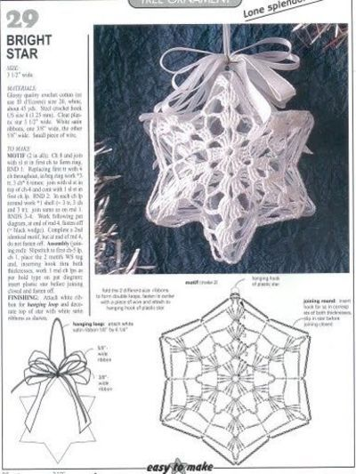 Star Christmas Crochet Ornaments With Diagram Wita