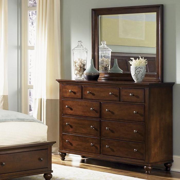 Hamilton 9 Drawer Dresser And Mirror In Cinnamon Nebraska