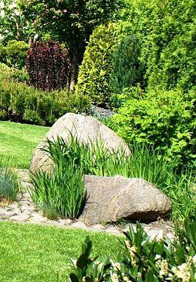 Sten och gräs.