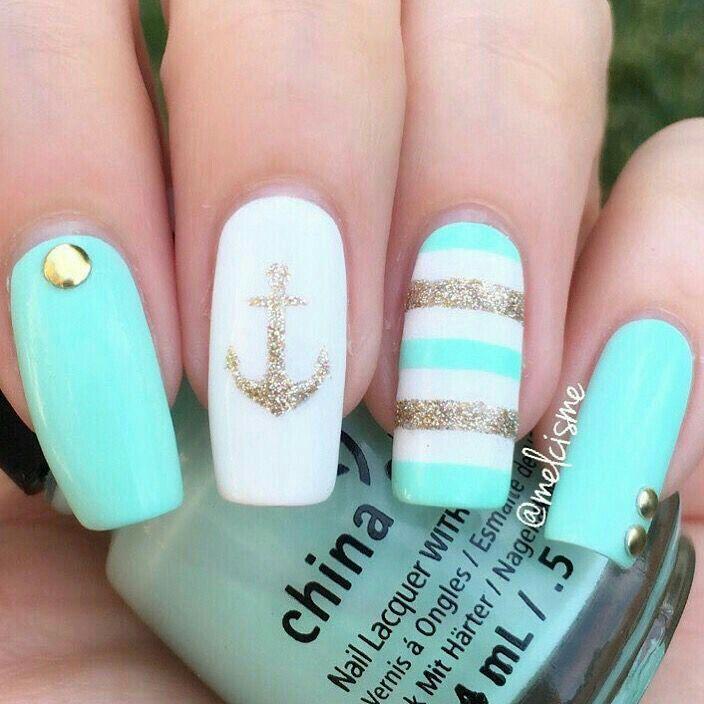 En color menta, blanco y oro | Uñas bonitas y decoradas | Pinterest ...