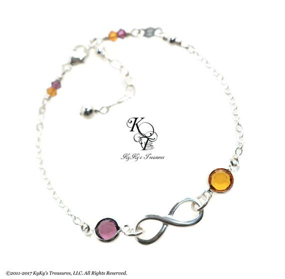 Birthstone Bracelet Infinity Mother