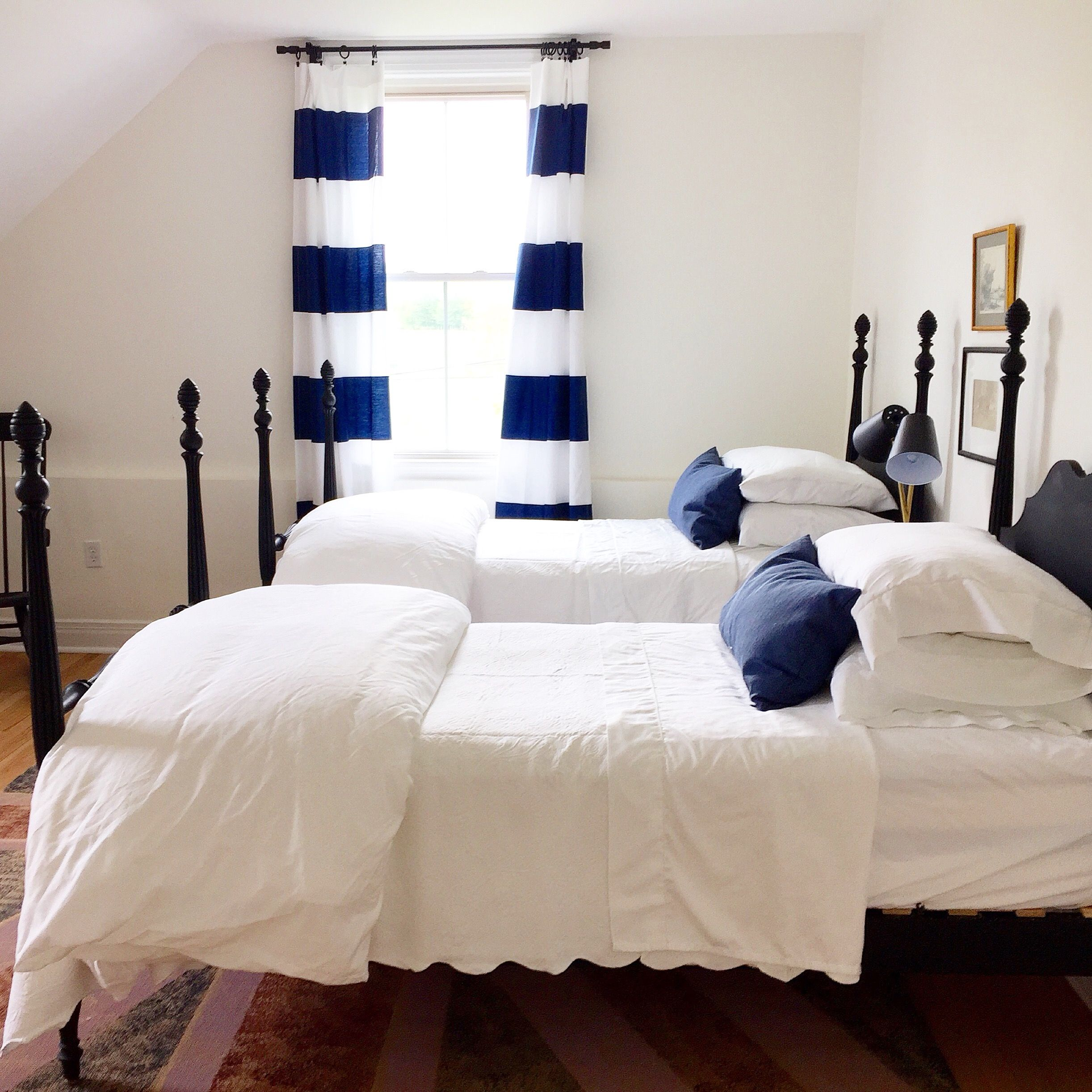 Hudson Valley Farmhouse Twin Bedroom painted beds, four