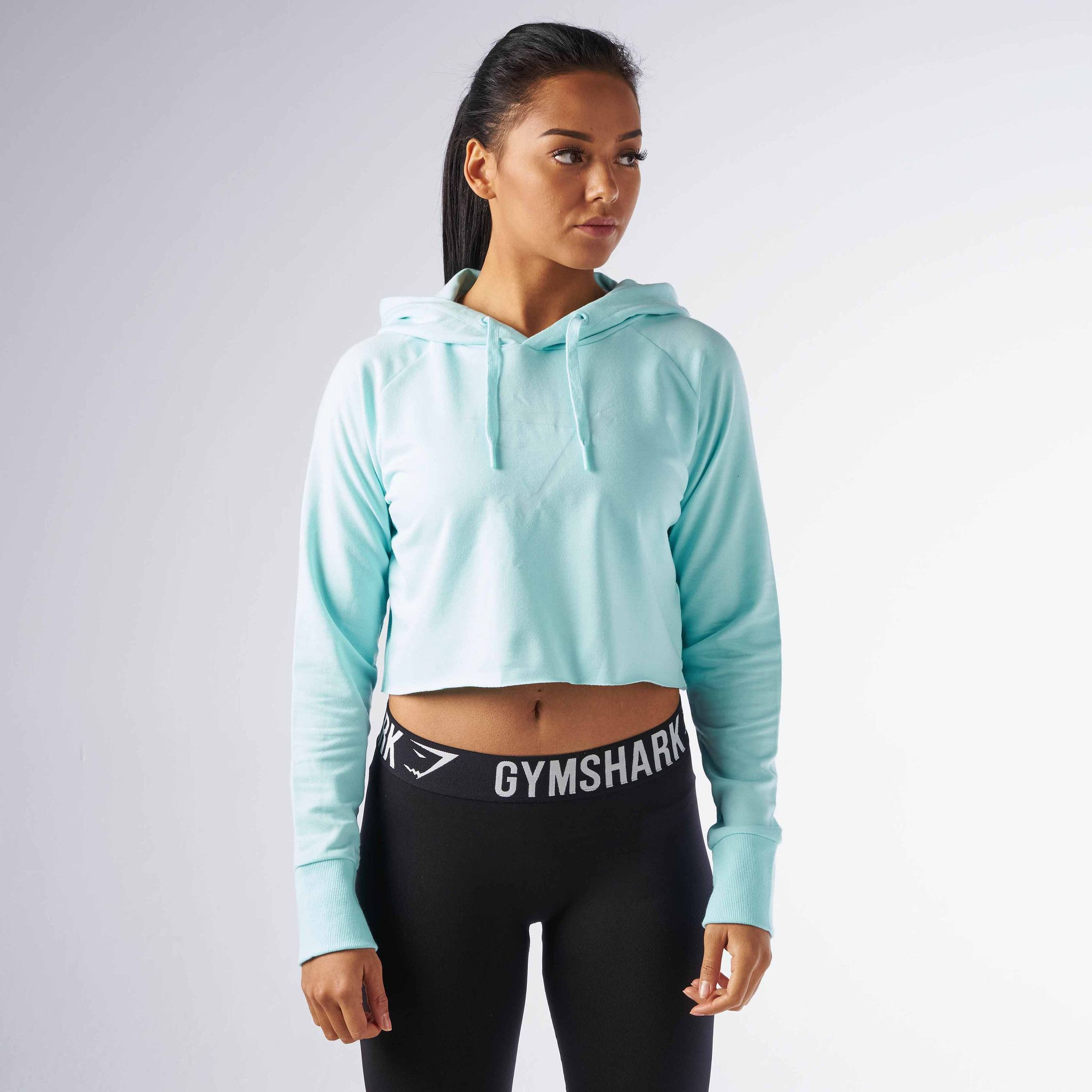 Gymshark Cropped Hoodie - Pale Turquoise