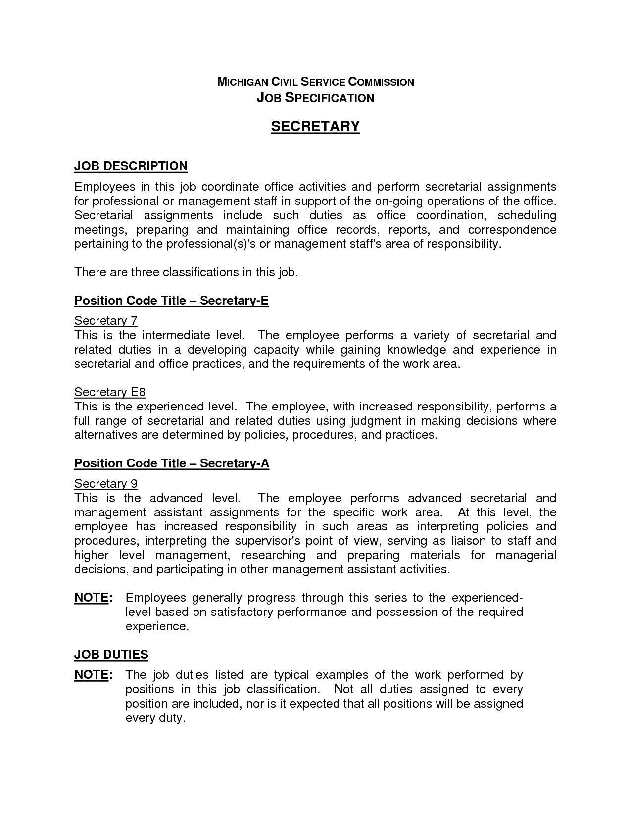 Job Description Secretary For Resume Modern Administrative