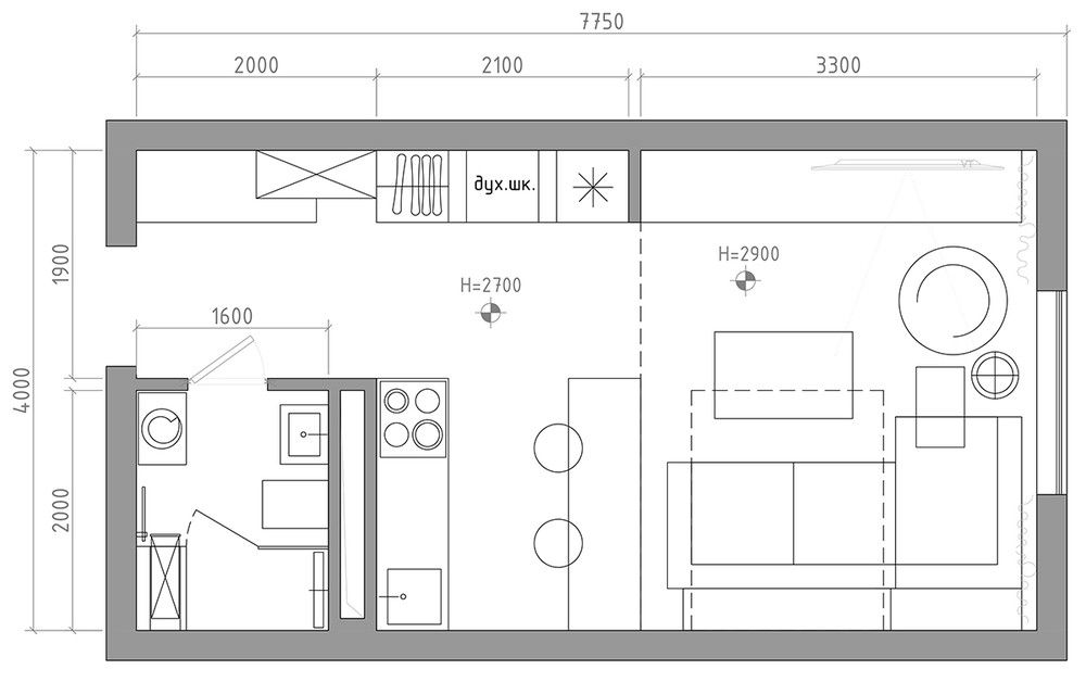 6 Beautiful Home Designs Under 30 Square Meters With Floor Plans Apartment Floor Plans Small Apartment Plans Studio Floor Plans