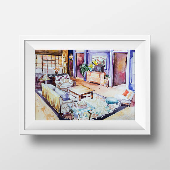 Wall Art Friends TV Show Monica\'s Living Room Watercolor Print,90 ...