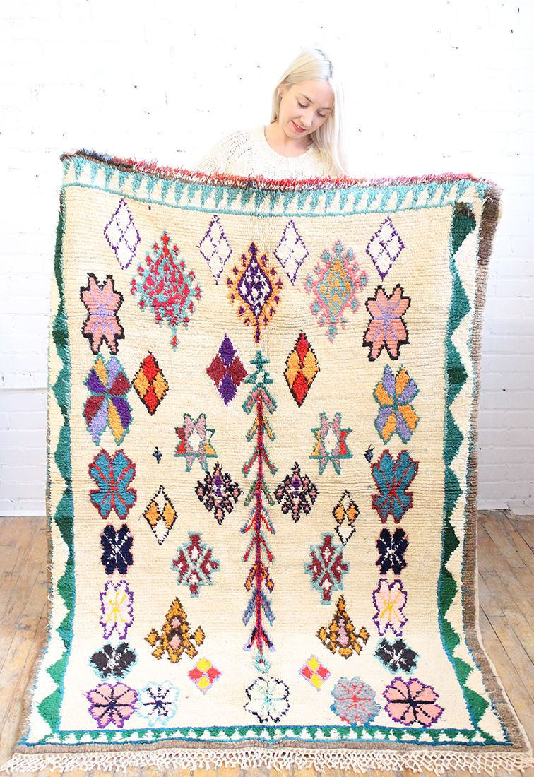 Such a beautiful pastel bouquet handmade rug, from Baba Souk Handmade Furniture - http://amzn.to/2iwpdj4