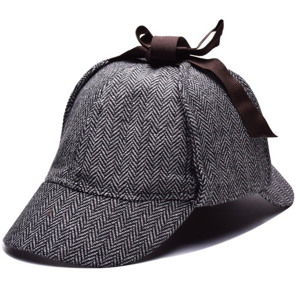 High Quality Role Playing Cap Detective Sherlock Holmes Deerstalker Cap Gray New Beret Hat Dress Hat Hat Wish Deerstalker Sherlock Holmes Costume Detective Sherlock Holmes