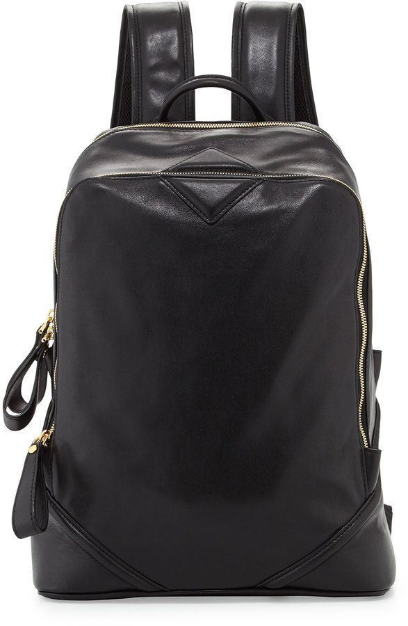 3b683c33 MCM Men's Flat Basic Leather Backpack, Black on shopstyle.com | Bags ...