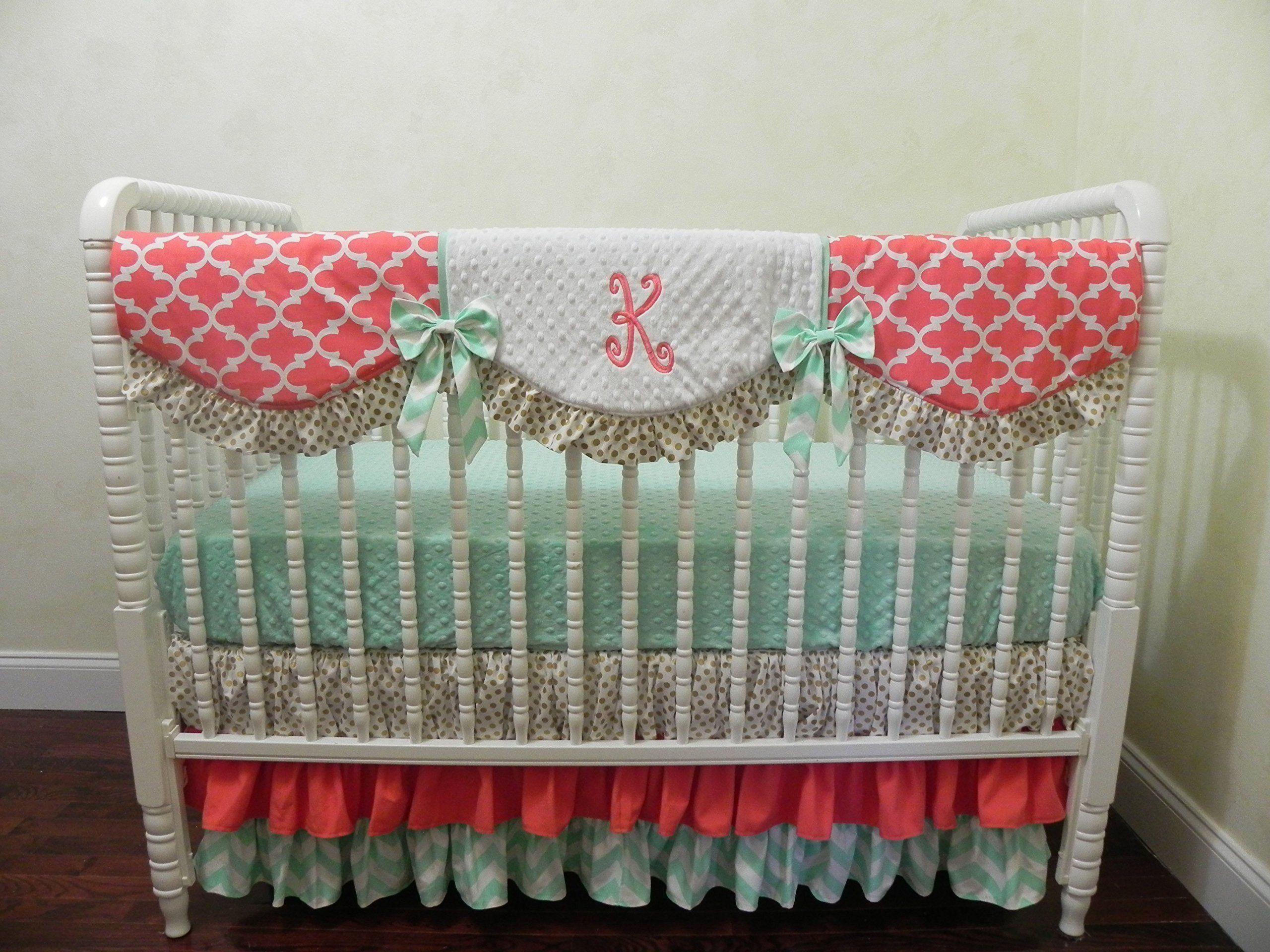 Nursery Bedding Baby Girl Crib Bedding Set Katrina Coral Mint