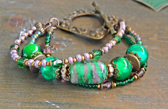 Green Bohemian Multistrand Lampwork bracelet by MarianneMerceria