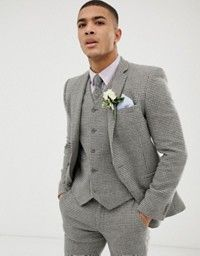 9e0a35c6c97 ASOS DESIGN | ASOS DESIGN wedding skinny suit jacket in stone micro check